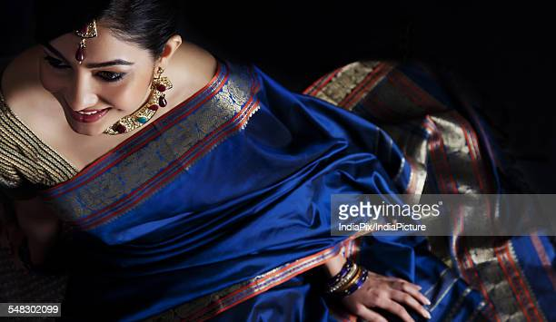 woman in a blue saree - tradition stock pictures, royalty-free photos & images