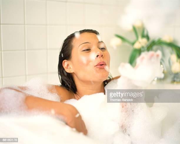 Woman in a bubble bath
