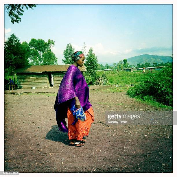 A woman in a colourful outfit on August 27 2013 in Goma Democratic Republic of Congo