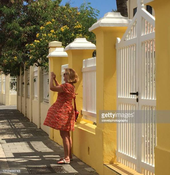 woman in a dress taking a photograph - stevebphotography stock pictures, royalty-free photos & images