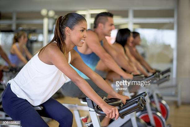Woman in a spinning class