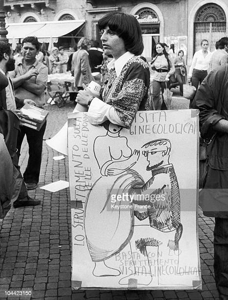 Woman In A Feminist Demonstration In The 1970'S Displays A Sign In Favor Of The Right To Abortion Without Gynecological Exams