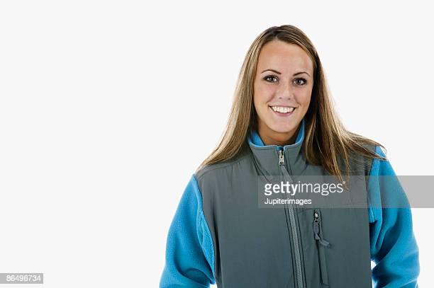 Woman in a fleece jacket