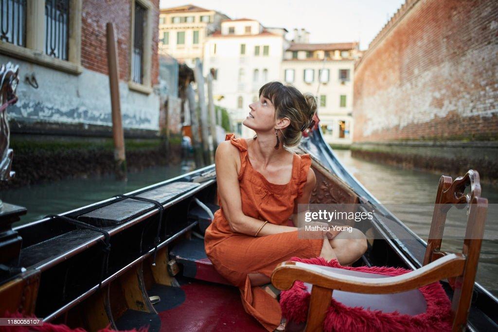 Woman in a gondola : Stockfoto
