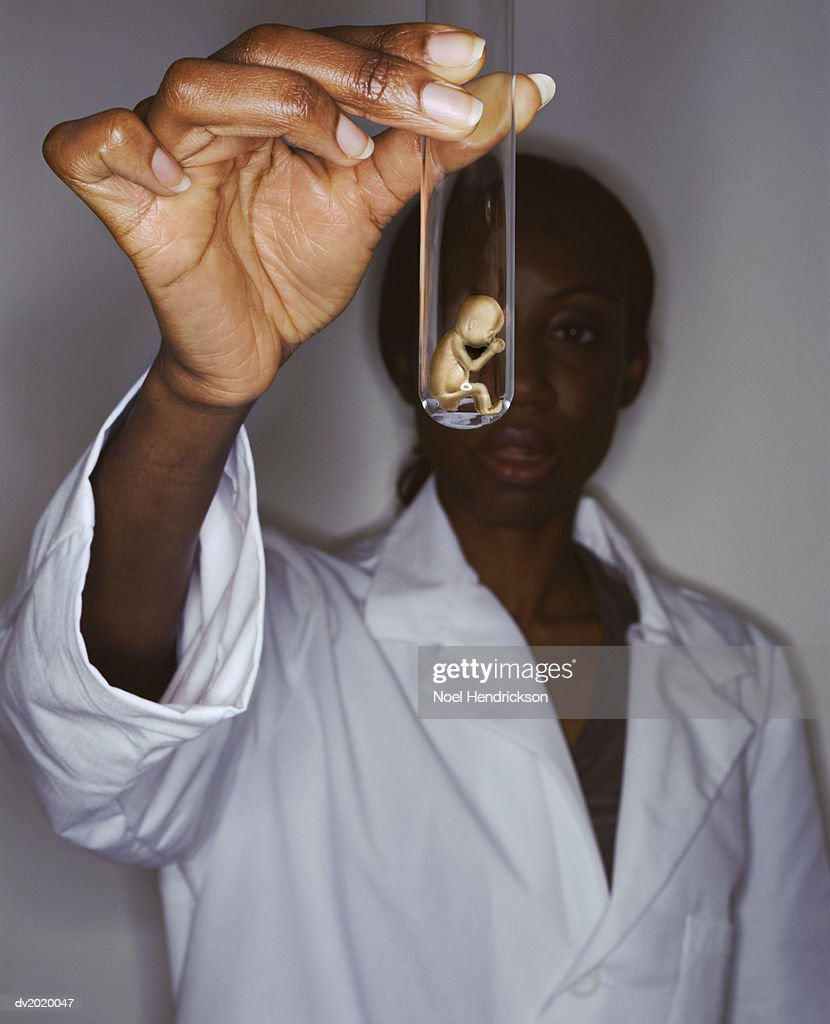 Woman in a Lab Coat Holds Out a Fetus Inside a Test Tube : Stock Photo