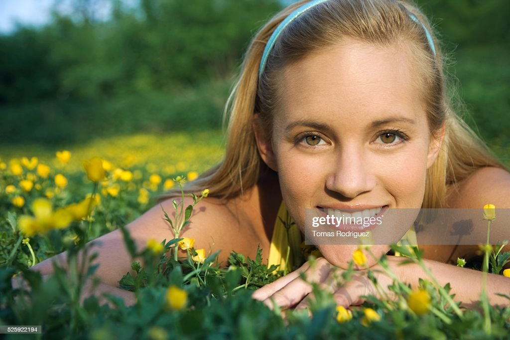 Woman in a Meadow : Stock Photo