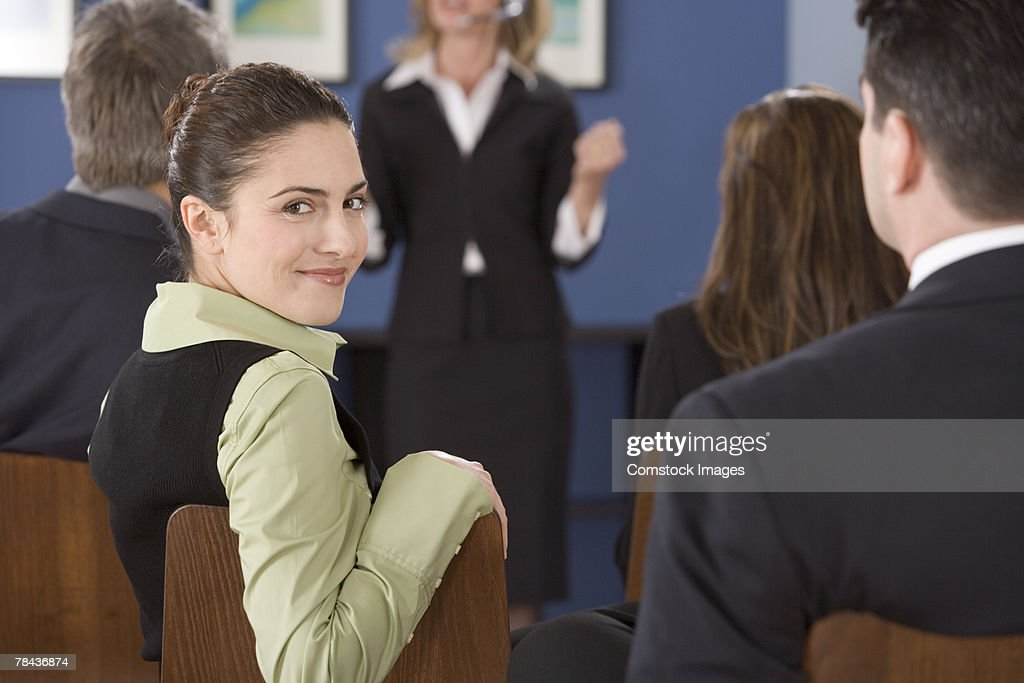 Woman in a meeting : Stockfoto