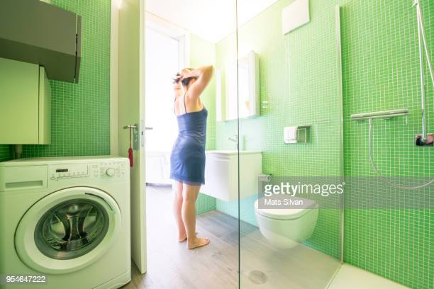 Woman in a Modern Bathroom