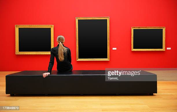 woman in a museum (clipping path)
