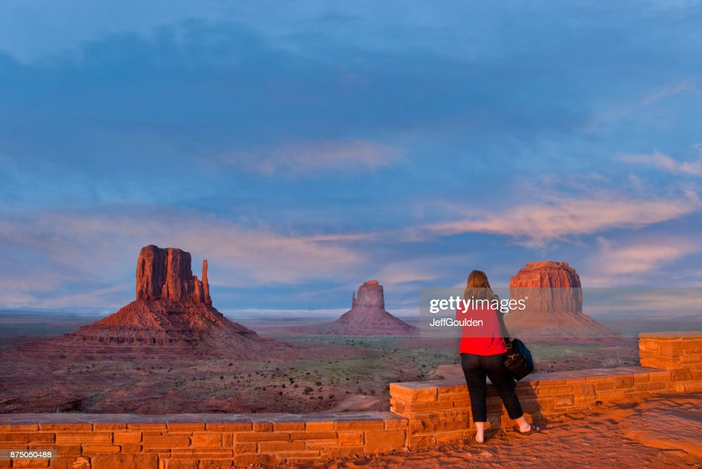 Woman Taking a Picture of Monument Valley : Stock Photo