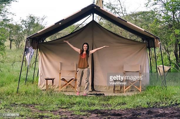Woman in a tended camp in Serengeti - Tanzania