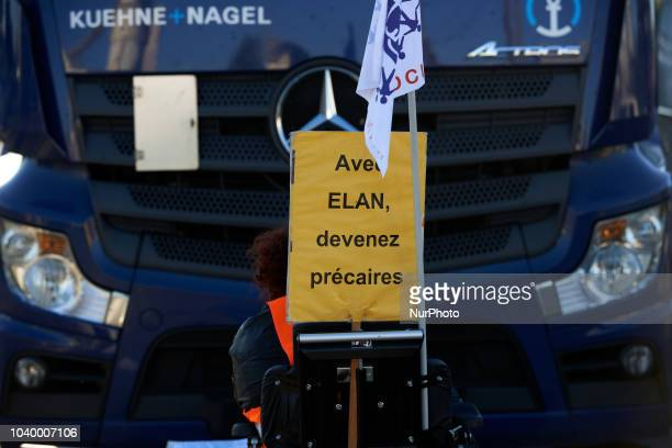 Disabled people from the Handi'Social organization blocked concrete factories and construction material for housing shops in Toulouse they protest...