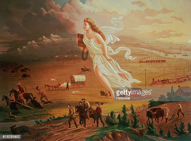 A woman in a white robe is the symbol of 'Manifest Destiny' She floats over the prairie holding a school book and a coil of telegraph wire which she...