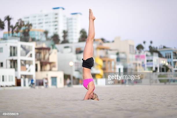 Woman in a Yoga Head Stand
