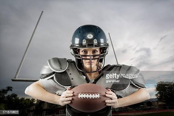 Woman in American Football Gear