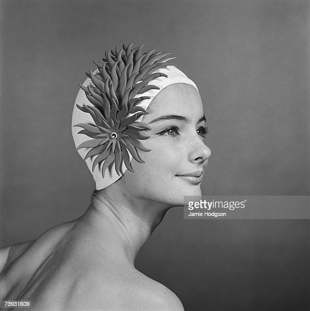 A woman in an elaborate Comet swimming cap 14th August 1963