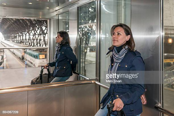Woman in an elevator