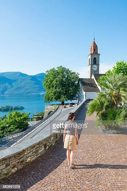 woman in an old town - ascona stock photos and pictures