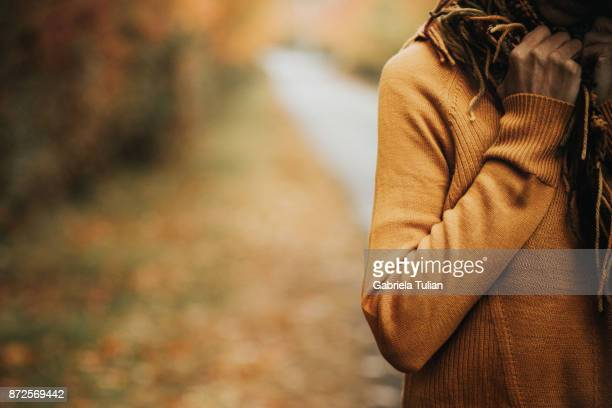 Woman in autumn nature