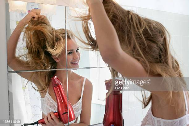 woman in bathroom and hair