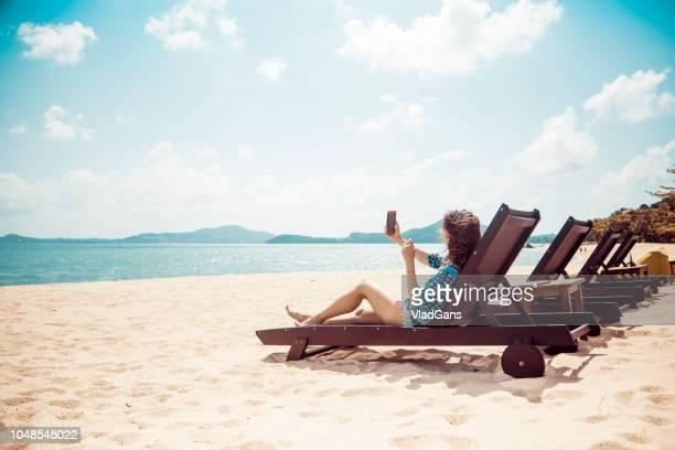Woman in beach chair