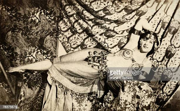Woman in belly dancer costume