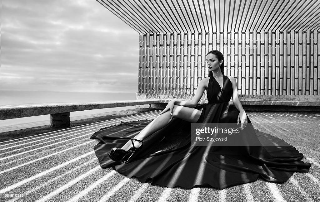 woman in black dress : Stock Photo