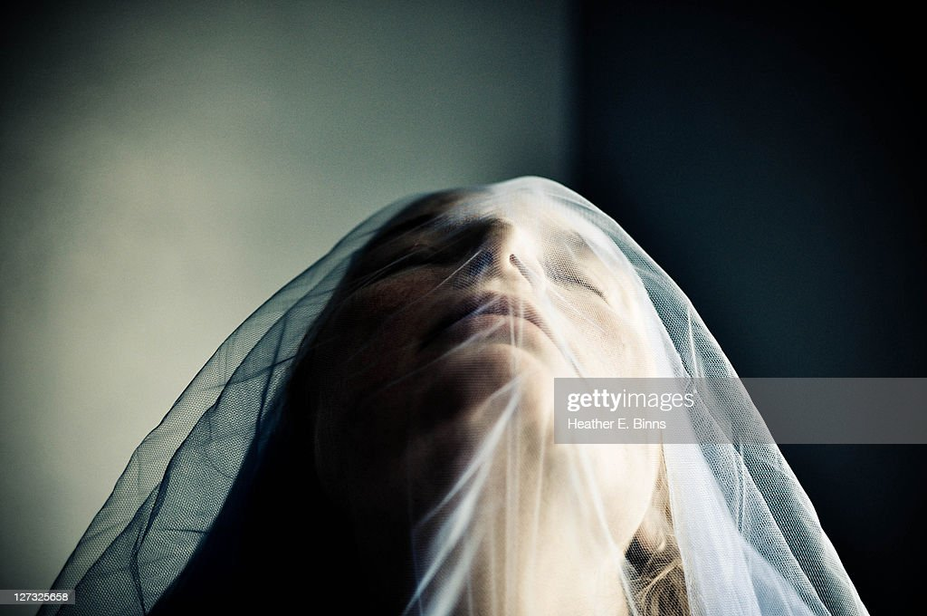 woman in blue veil : Stock Photo