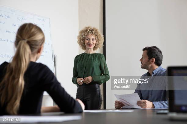 Woman in boardroom leading a presentation