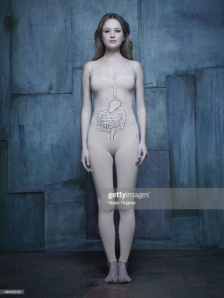 woman in body suit with intestine illustration : Stock-Foto