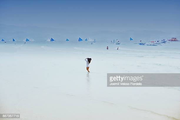 woman in boracay island, philippines - joemill flordelis stock pictures, royalty-free photos & images