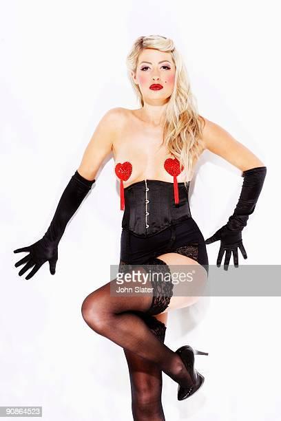 Woman in burlesque lingerie