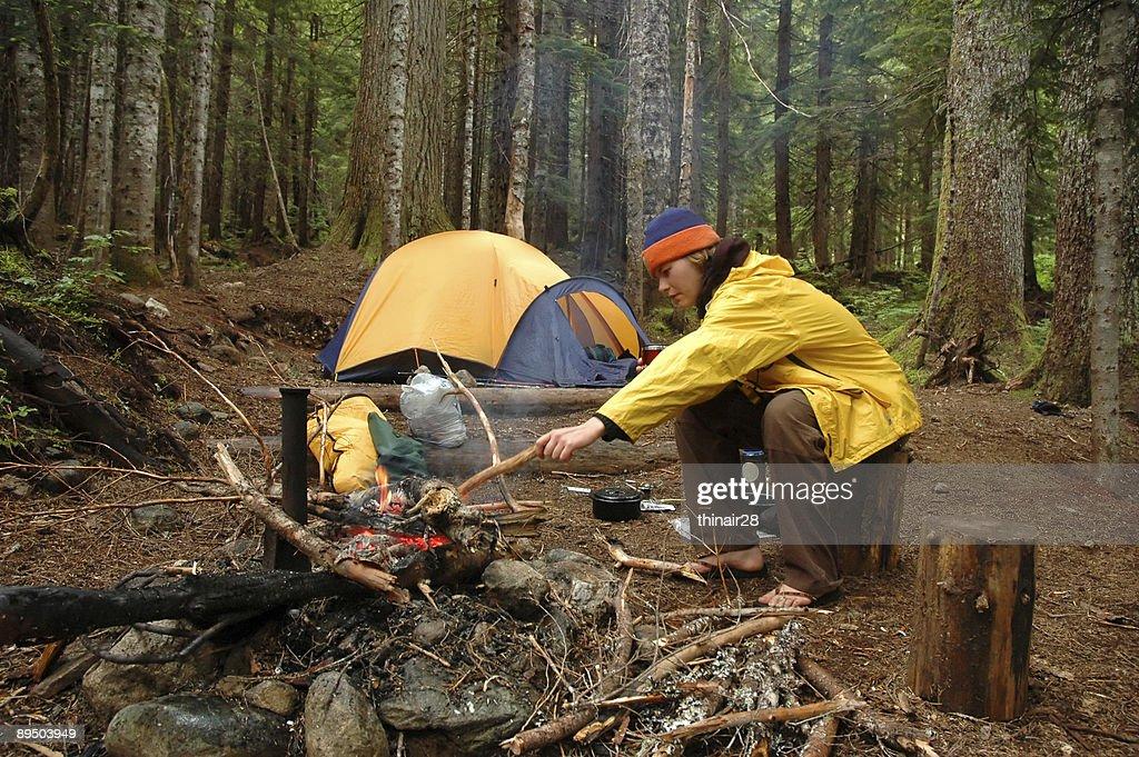 Woman in campsite : Stock Photo