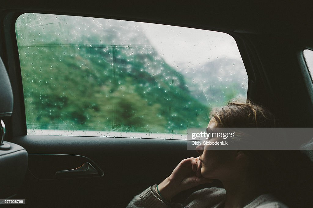 Woman in car : Stock Photo