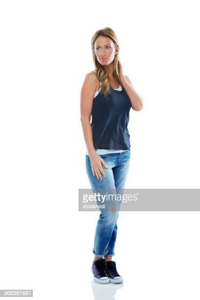 woman in casuals looking at copyspace - sweater vest stock photos and pictures