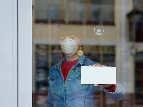 woman in closed shop with mask - your text closed 1212387168