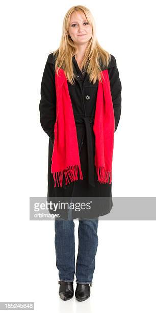 Woman In Coat and Scarf Standing