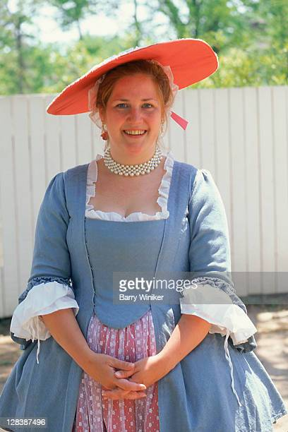 woman in colonial williamsburg attire - colonial style stock pictures, royalty-free photos & images