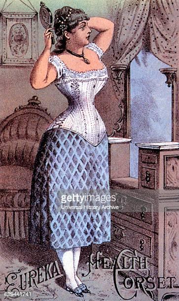 Woman in Corset Looking in Mirror, Eureka Health Corset, Trade Card, circa 1880.