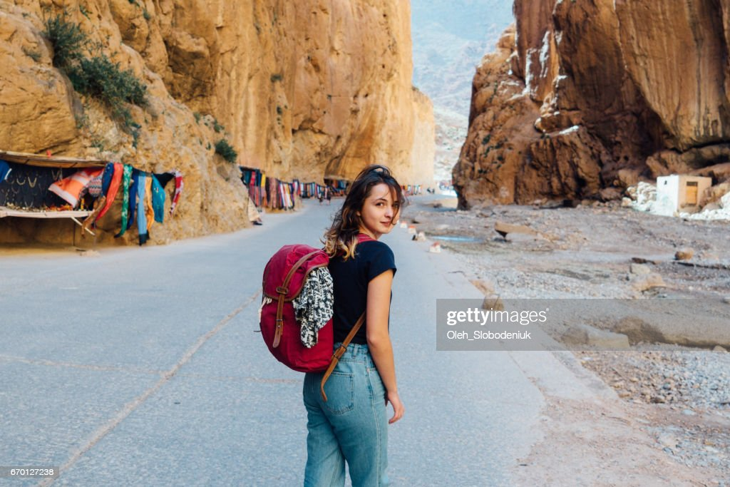 Woman in Dades Gorge in Morocco : Stock Photo