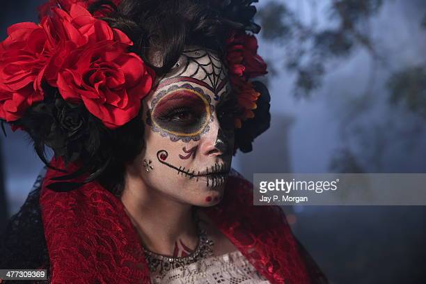 Woman in day of the dead make up