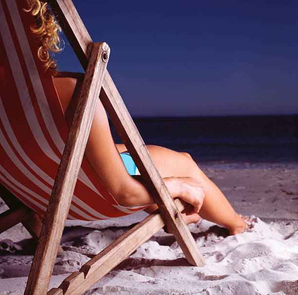 Woman in deck chair on beach, close up