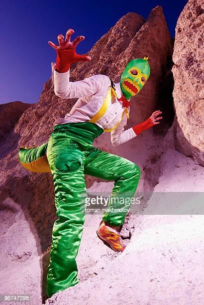 Woman in dinosaur costume