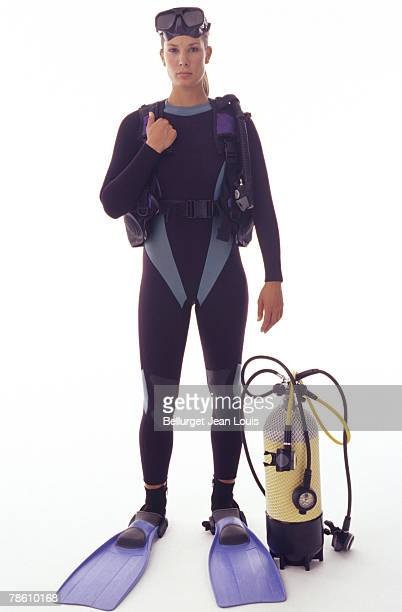 Woman in diving gear