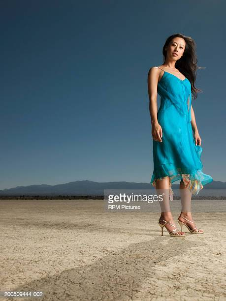 woman in dress standing in desert - el mirage dry lake stock photos and pictures