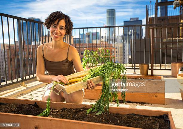 Woman in DTLA Rooftop Garden