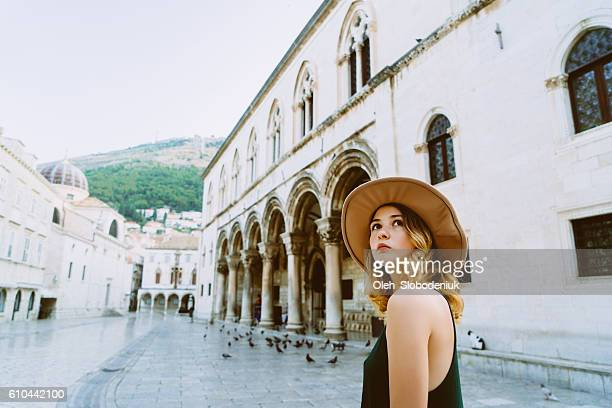 woman in dubrovnik od town - croatia stock pictures, royalty-free photos & images