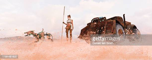 woman in dystopian desert future with bulldozer car and robot dog in sandstorm - ブルドーザー ストックフォトと画像