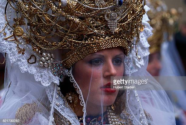 woman in easter procession in marsala - marsala sicily stock pictures, royalty-free photos & images