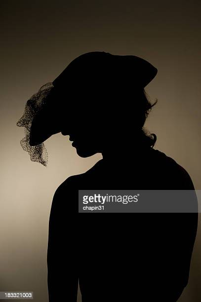 Woman in Fashionable Casablanca Hat Silhouette